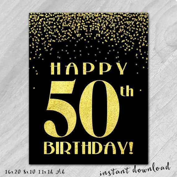 Bright image within printable 50th birthday signs