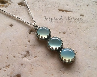 Chalcedony Necklace,Blue Chalcedony Necklace,Bridal Necklace,Pendant,Blue Pendant Necklace,Boho Necklace,Layer Necklace,Wedding Jewelry