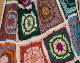 Granny Square Afghan, Circle in Square, Crochet Afghan
