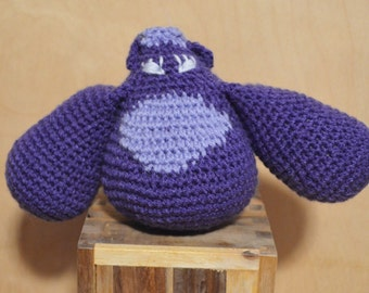 Round Purple Critter, Crochet Critter, Crochet Monster