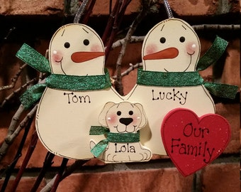 3 Family Members:  Personalized Snowman & Pet Ornament