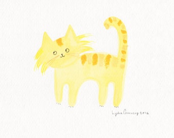 SALE** Original Illustration - yellow Cat