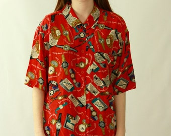 Vintage 1980's Silk NOVELTY Print Blouse / Watches Bus Schedule Pocket Watch Travel Print / RARE OOAK Cherry Red Hipster Button Up Shirt