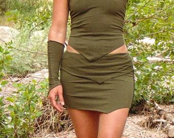 Scorpius Skirt: Asymmetrical Mini Skirt with Pointed Hemline. Lightweight Organic Cotton Pixie Skirt. Olive Green Yoga Pant Skirt.