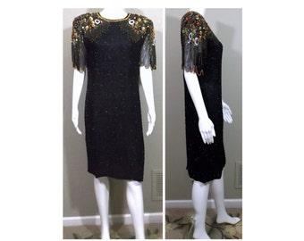 LAURENCE KAZAR Silk Beaded Cocktail Dress Size Large L 10 12