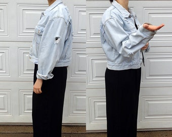 Distressed denim jacket, men's cropped light blue denim jacket, size large, boxy cropped unisex jean jacket