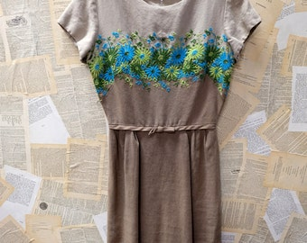 1960s Linen Embroidered Dress