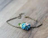 Flower bracelet - flower jewelry - forget me not jewelry - nature jewelry - botanical berry jewelry - flower accessory - woodland bracelet