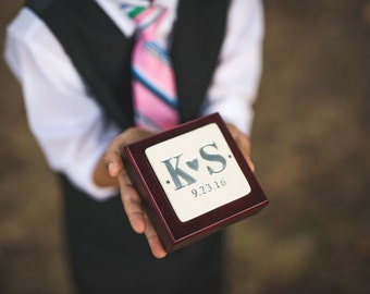 Ring Bearer Box  - Personalized - Rosewood Finish -  Text Available in Different Colors