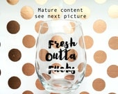 Stemless wime glass Fresh outta F's funny  wine glass for sarcastic wine lovers, zero f's given, sarcastuc gifts