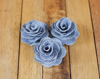 Two Dozens  Faded Blue Denim Fabric  Eco-Friendly Roses