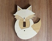 Wood Laser Cut Fox Light Switch Plate / Cover (single switch)