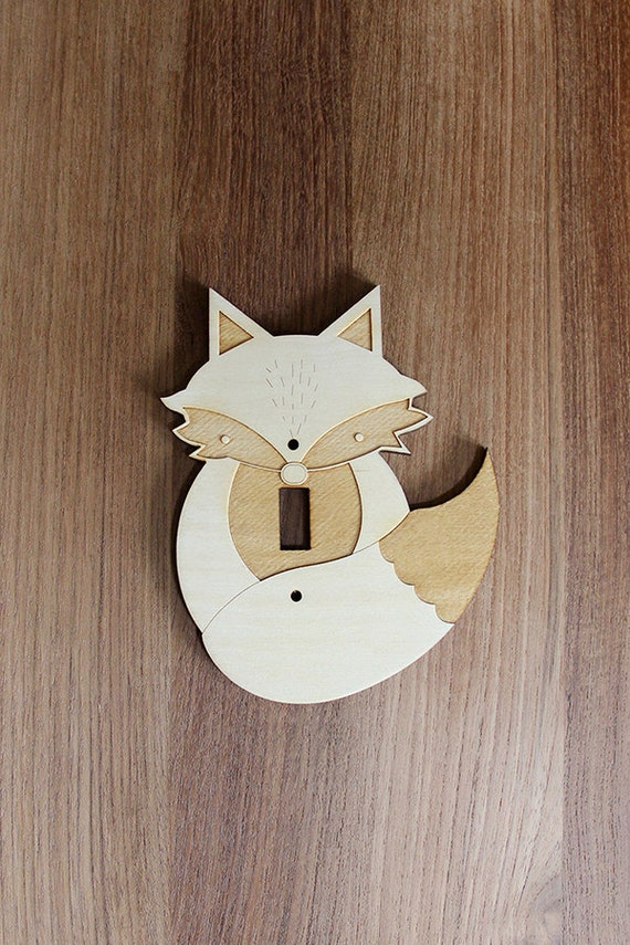 Wood Laser Cut Fox Light Switch Plate Cover Single Switch
