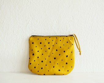 Yellow Leather pouch, Zippered pouch,Yellow purse, Cosmetic bag, Small leather purse, Clutch