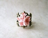 Pink Flower Ring. Rose Pink Ring. Blush Pink Star Flower Rose Ring. Vintage Style Adjustable Antique Bronze Filigree Ring. Romantic Jewelry.