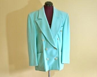 1980s Vintage Escada by Margaretha Rey Mint Green Angora Wool Blazer size 42 (L) bust 42