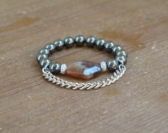 Quartz Chunky Beaded Stretch Bracelet - Quartz Bracelet - Large Stone Bracelet - Fringe Bead Bracelet - Stackable Beaded Bracelet Arm Candy