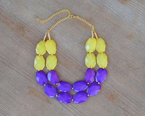 Purple and Yellow Statement Necklace - LSU Necklace - LSU Jewelry - LSU Gifts - Game Day Necklace