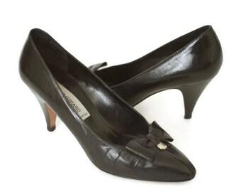 Vintage 90s Italian Black Leather Heels - Size 8