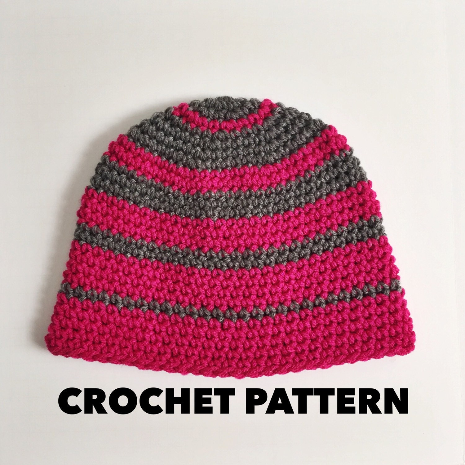Crochet Beanie Pattern Striped : Crochet Striped Beanie Pattern Thick n Thin Beanie Hat