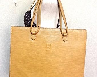 Vintage FENDI light mustard yellow epi leather extra large shoppers tote bag with logo stitch mark. Rare