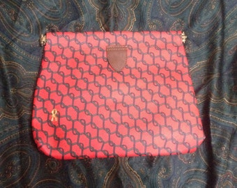 Vintage Roberta di Camerino red, green and navy ribbon print clutch purse with gold tone R logo charm. Made in USA.