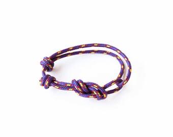 Rope Bracelet - Unisex Figure 8 Rock Climbing Bracelet - Purple