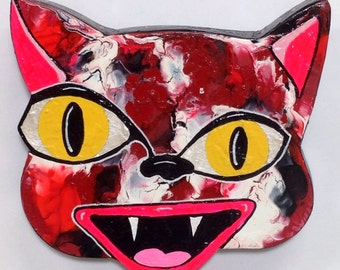 Outsider Folk Art Cat Head, Happy Cat #15, Comical Hand Painted Cat Wall Hanging, Abstract Cat Wood Wall Art, Outsider Cat by Windwalker Art