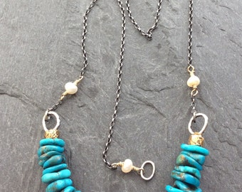 Turquoise nugget necklace - Arizona blue organic semi precious beads, mixed metal jewelry by mollymoojewels