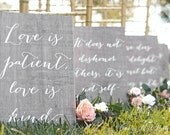 1 Corinthians 13 sign, Love is Patient Love is Kind, Love Never Fails signs, Wedding Verse Signs, 1 Cor 13 Sign, Wooden Wedding Signs
