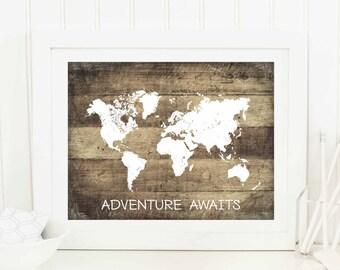 Printable Rustic Decor, Travel Quote Poster, Adventure Awaits Print, Digital File, Wedding Decor, Instant Download