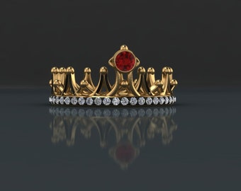 Ruby and Diamond Crown Ring