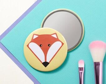 Fox Pocket Mirror - Small Mirror - Hand Mirror - Handbag Mirror