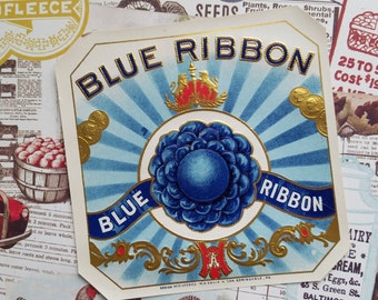 3 Antique Blue Ribbon Cigar Box Labels | County Fair | Country | Blue | Tobacco Ephemera Lot | NOS