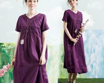 Linen Tunic Dress In Purple, Long Linen Dress With Tucks, Short Sleeve Dress, Shirt Dress, Shift Dress, Loose Fitting Dress, Linen Sundress
