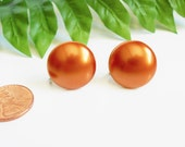 Button Earrings, Copper Color, Vintage Small Round Screw Back Earrings