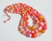 Pink Bead Multi Strand Choker Necklace, Peach White Gold Stunning Signed JAPAN, Vintage Triple Strand Bib Necklace