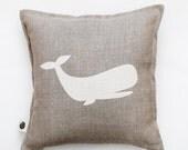 Whale pillow cover -decorative pillow - cushion case - throw pillow - linen pillow sham- home decor - accent pillow - gift for kids 0330