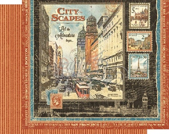 "Now Shipping-Graphic 45 ""Cityscapes"" 12 x 12 Double-sided sheet"