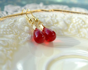 Red Drop Earrings, Ruby Red Earrings, Red Jewelry, Glass Bead Earrings, Tear Drop Earrings, Simple Earrings, Popular Items, Gift for Sisters