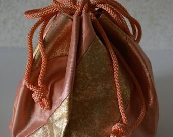 Kinchaku drawstring  purse, brocade