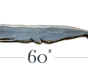 Large Wooden Whale Carving Made from Reclaimed Wood.