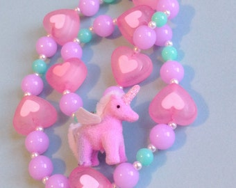 Fairy Kei Fantasy - Heart and Pastel Bead Stretch Necklace with Pink and Purple Fuzzy Unicorn Charm and Tiny Faux Pearls