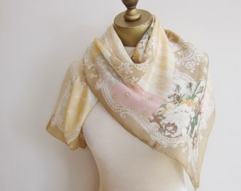Silk scarf, vintage scarves. pastel silk scarf, fabric samples, patchwork motif, large square scarf, Echo scarf, 80s scarf
