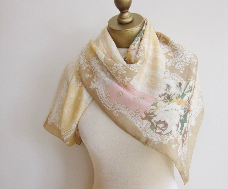 silk scarf vintage scarves pastel silk scarf fabric
