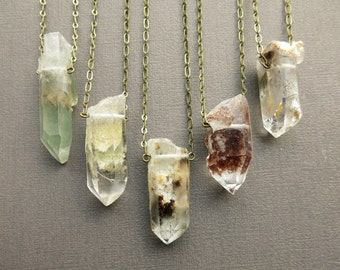 Healing Crystal Necklace - Phantom Quartz Necklace - Raw Crystal Necklace - Crystal Pendant - Garden Quartz Crystal Jewelry Bohemian Jewelry