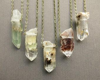 Raw Crystal Necklace - Raw Quartz Necklace - Healing Crystal Necklace - Crystal Pendant - Crystal Jewelry - Boho Jewelry - Boho Necklace