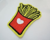 1pc French Fries Patch - Iron on Patch or Sewing Patch Potato French Fries Patch