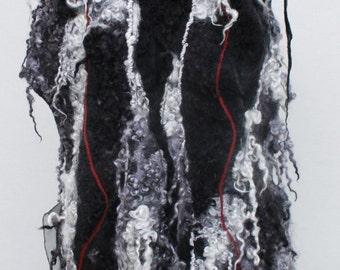 WinterWool Scarf,Silver Black White Felted  Scarf,  Nuno Felted Scarf, merino wool, wool locks, Shawl Wrap chunky texture White Black Silver