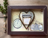 Anniversary Gift for Men - First Anniversary Gift -  Shadow Box - Personalized Map and Heart Gift